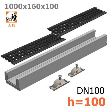 Лоток бетонный ЛВ-10.16.10 с решеткой пластиковой