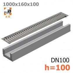 Лоток бетонный ЛВ-10.16.10 с решеткой стальной