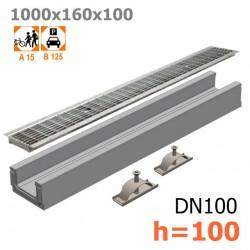 Бетонный лоток ЛВ-10.16.10 с решеткой стальной ячеистой