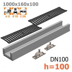 Лоток бетонный ЛВ-10.16.10 с решеткой чугунной щелевой