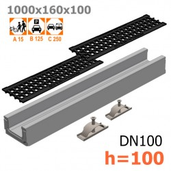 Лоток бетонный ЛВ-10.16.10 с решеткой чугунной ячеистой