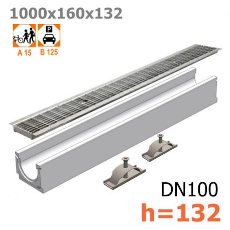Лоток бетонный ЛВ-10.16.13,2 с решеткой стальной ячеистой