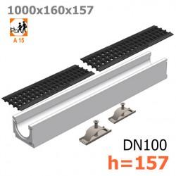 Лоток бетонный ЛВ-10.16.16 с решеткой пластиковой