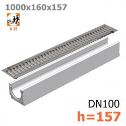 Бетонный лоток ЛВ-10.16.16 с решеткой стальной