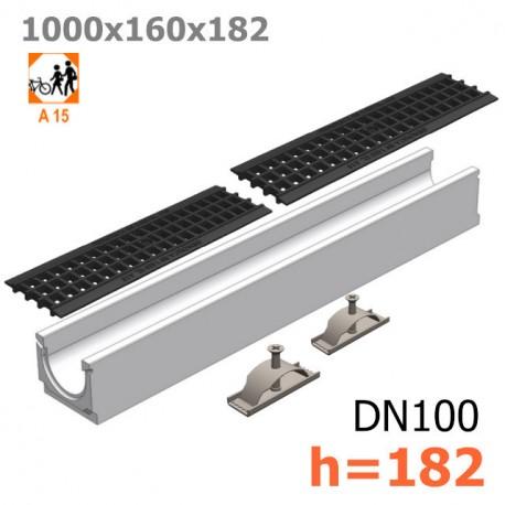 Лоток бетонный ЛВ-10.16.18,2 с решеткой пластиковой
