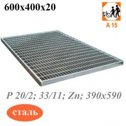 Придверная стальная решетка 600х400 оцинкованная, ячеистая