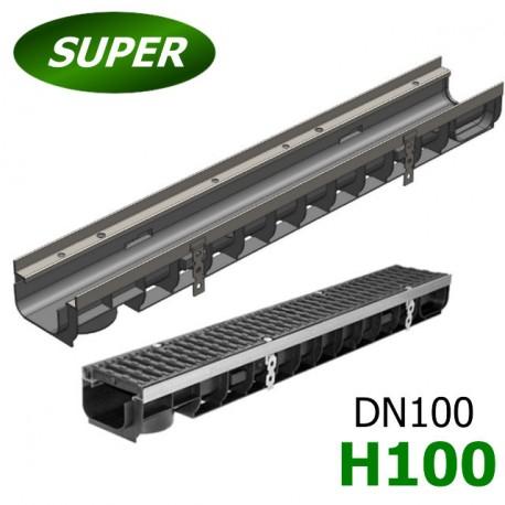 Лоток водоотводный Gidrolica Super ЛВ-10.14,5.10 пластиковый, кл. E600