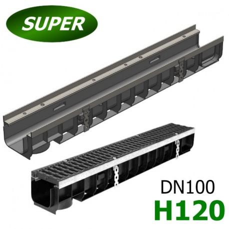 Лоток водоотводный Gidrolica Super ЛВ-10.14,5.12 пластиковый, кл. E600