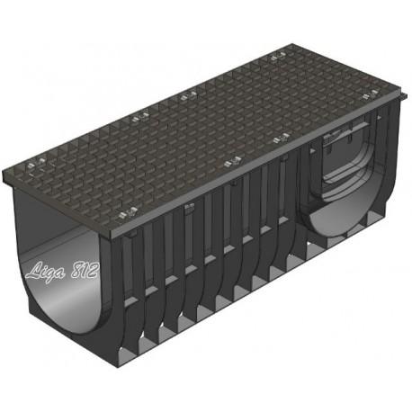 Лоток Gidrolica Light ЛВ-30.38.28 с решеткой стальной (ячейка)