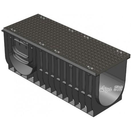 Комплект: Лоток Gidrolica Light ЛВ-30.38.48 с решеткой стальной (ячейка)