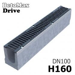 Чертеж: Лоток BetoMax Drive DN100 H160 с решеткой, кл. D