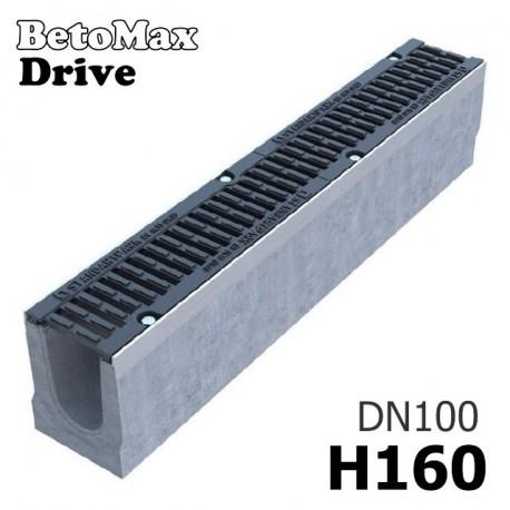 Лоток BetoMax Drive ЛВ-10.16.16-Б бетонный с решеткой чугунной