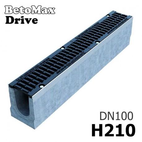 Лоток BetoMax Drive ЛВ-10.16.21-Б бетонный с решеткой щелевой чугунной