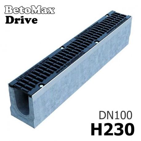 Лоток BetoMax Drive ЛВ-10.16.23-Б бетонный с решеткой чугунной щелевой