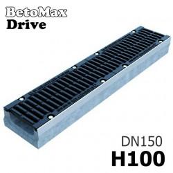 Лоток водоотводный BetoMax Drive ЛВ-15.21.10-Б бетонный с решеткой щелевой чугунной ВЧ кл. D (комплект)