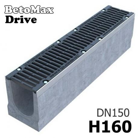 Лоток водоотводный BetoMax Drive ЛВ-15.21.16-Б бетонный с решеткой щелевой чугунной ВЧ кл. D (комплект)