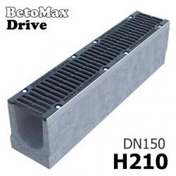 Лоток водоотводный BetoMax Drive ЛВ-15.21.21-Б бетонный с решеткой щелевой чугунной ВЧ кл. D (комплект)