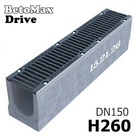 Лоток водоотводный BetoMax Drive ЛВ-15.21.26-Б бетонный с решеткой щелевой чугунной ВЧ кл. D (комплект)