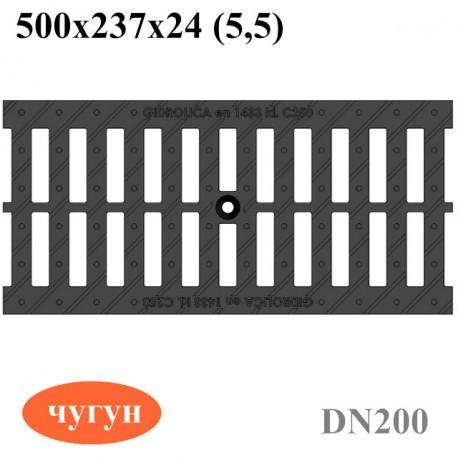 Решетка водоприемная Gidrolica Standart РВ-20.24.50 - щелевая чугунная ВЧ, кл. C250