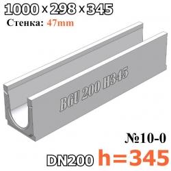 Чертеж: BGU Универсальный лоток DN200, № 10-0, без уклона высота 345
