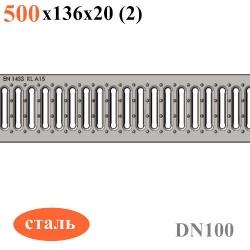 Схема: Решетка водоприемная Gidrolica Standart РВ -10.13,6.50 - штампованная стальная оцинкованная, кл. А15