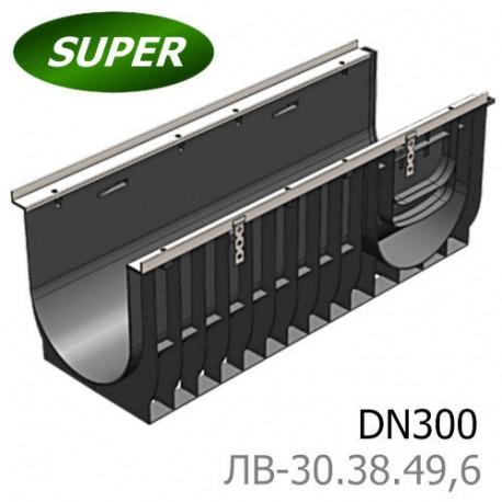 Лоток водоотводный Gidrolica Super ЛВ-30.38.49,6 - пластиковый, кл. E600