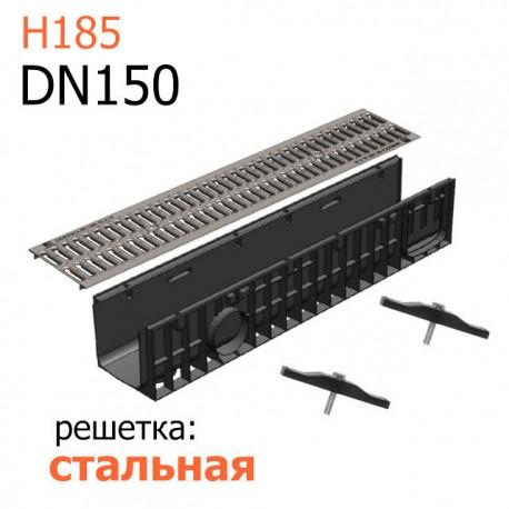 Пластиковый лоток DN150 H185 с решеткой стальной