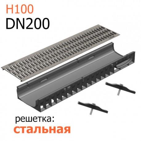 Пластиковый лоток DN200 H100 с решеткой стальной
