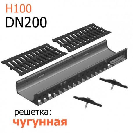 Лоток пластиковый DN200 H100 с чугунной решеткой, кл. C