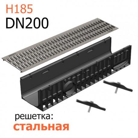 Пластиковый лоток DN200 H185 с решеткой стальной