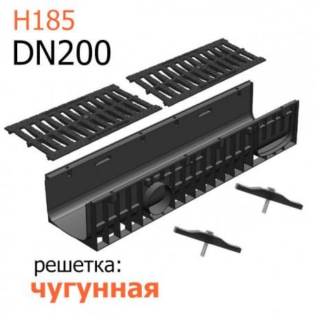 Лоток пластиковый DN200 H185 с чугунной решеткой, кл. C