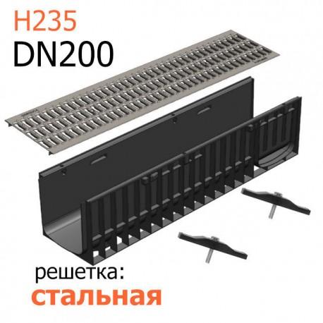 Пластиковый лоток DN200 H235 с решеткой стальной