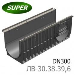 Лоток водоотводный Super ЛВ-30.38.39,6 - пластиковый с чугунной решеткой
