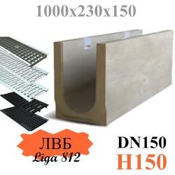Лоток водоотводный бетонный (ЛВБ) PLUS 150 №0/1