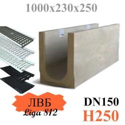 Лоток водоотводный бетонный (ЛВБ) PLUS 150 №5/0