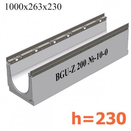 BGU-Z Универсальный лоток DN200, № -10-0, с оцинкованной насадкой, без уклона (бетонный)