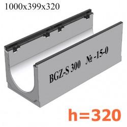 Лоток водоотводный бетонный коробчатый (СО-300мм), с чугунной насадкой  КU 100.39,9 (30).32(25) - BGZ-S, № -15-0