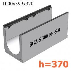 Лоток водоотводный бетонный коробчатый (СО-300мм), с чугунной насадкой  КU 100.39,9 (30).37(30) - BGZ-S, № -5-0