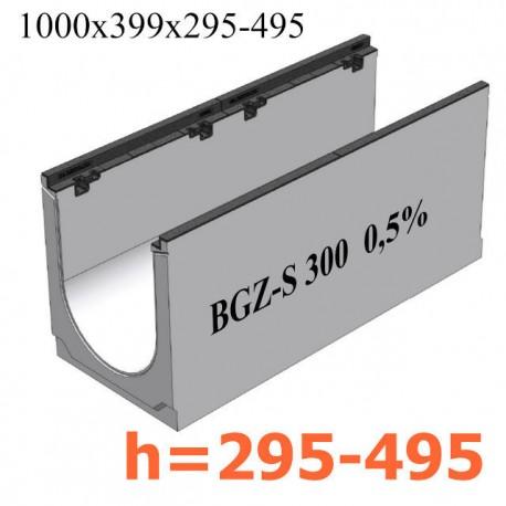 BGZ-S лоток для тяжелых нагрузок DN300 с чугунной насадкой, с уклоном 0,5 %