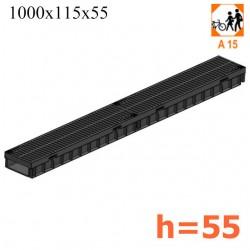 Лоток Light с пластиковой щелевой решеткой, h55 (кл. A15)