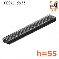 Лоток Light с решеткой стальной, h55 (кл. A15)