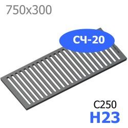 Чугунная решетка 750х300х23, СЧ-20, кл. C