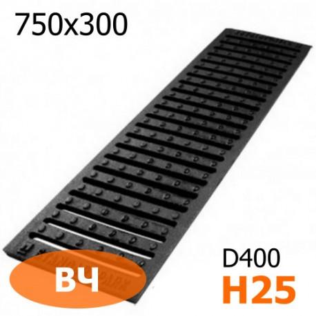 Чугунная решетка 750х300х25 ВЧ, кл. D