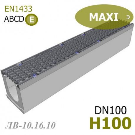 Лоток MAXI DN100 H100 (ЛВ-10.16.10) - бетонный с решеткой