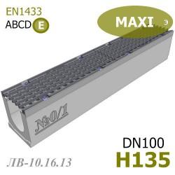 Бетонный лоток MAXI DN100 H135 (ЛВ-10.16.13) №0/1