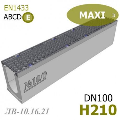 Лоток водоотводный MAXI ЛВ-10.16.21-Б бетонный с решеткой чугунной