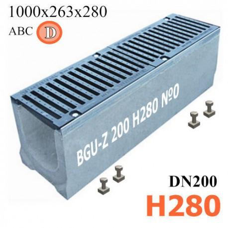Лоток водоотводный BGU-Z DN200 H280 №0 бетонный с решеткой, кл. D