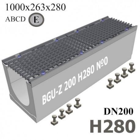 Лоток водоотводный BGU-Z DN200 H280 №0 с ячеистой решеткой, кл. E