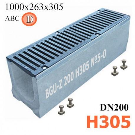 Лоток водоотводный BGU-Z DN200 H305 №5-0 бетонный с решеткой, кл. D