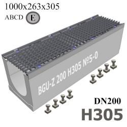 Водоотводный лоток BGU-Z DN200 H305 №5-0 бетонный с решеткой, кл. E
